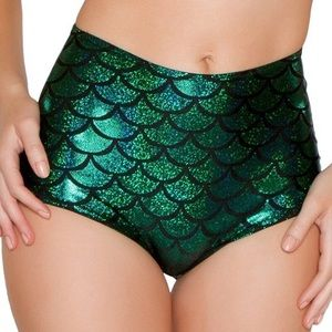 Pants - Green High Waist Cheeky Booty Shorts